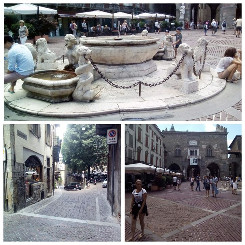 Что посмотреть в Бергамо за 1 день: Фонтан Контарини, Палаццо Раджоне справа и улицы верхнего города.