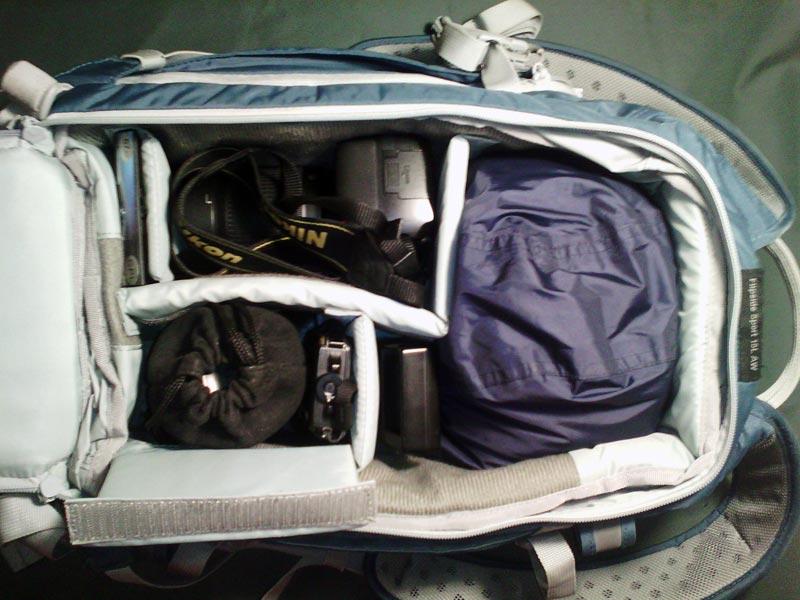 Пример фоторюкзака для путешествий.