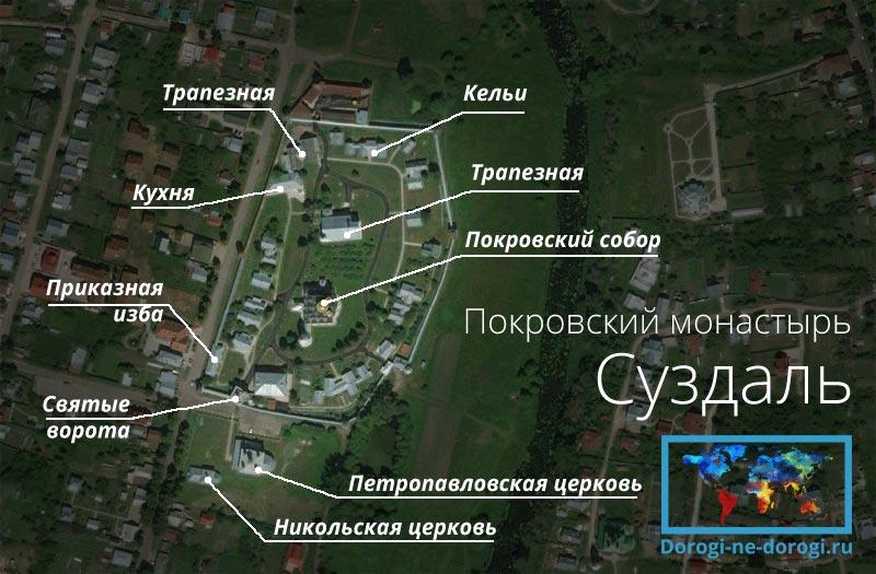Схема Покровского монастыря в Суздале