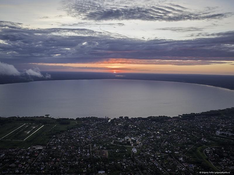 Закат на Плещеевом озере. Вид с высоты