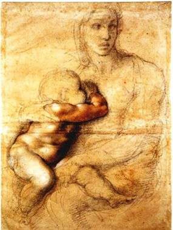 """Мадонна с младенцем"", набросок Микеланджело Буонаротти, 1525 г."