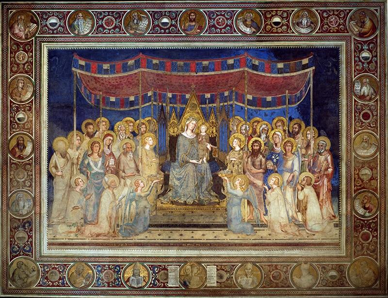 """Фреска Симоне Мартини """"Маэста"""". Время ее создания - 1315 г."""