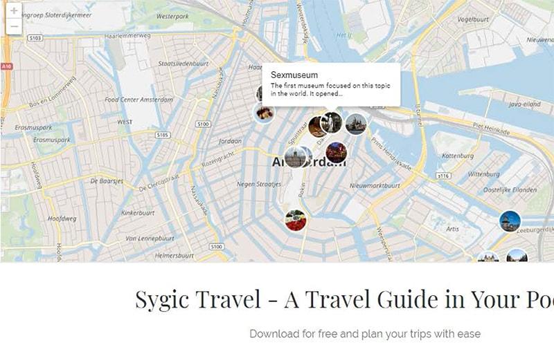 Сайт для городских путешествий travel.sygic.com. Нажав на место, слева всплывет блок с кратким описанием (на английском). Так можно просмотреть самые интересные места и выбрать, что из этого вы хотите посетить