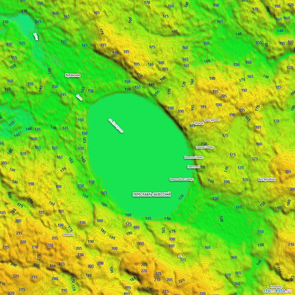 Карта высот Плещеева озера