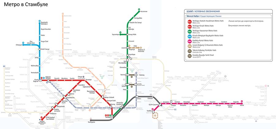 Схема метро Стамбула. В последние годы активно стали строить новые станции метро, но из-за большой протяженности города и сложного рельефа покрывает оно далеко не все районы
