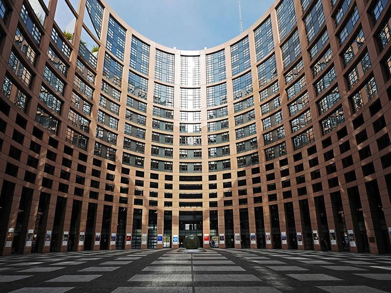 Внутренний двор Европейского Парламента в Страсбурге