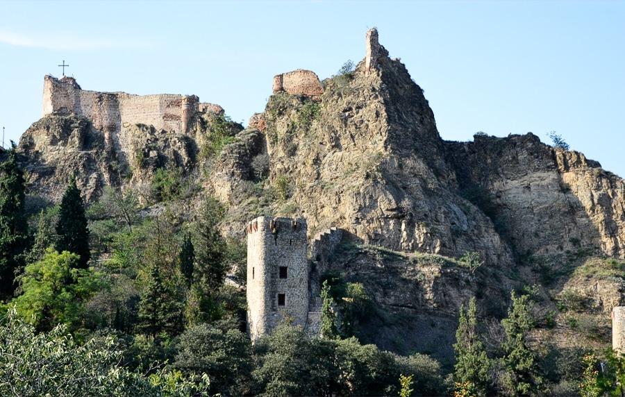 Вид на крепость Нарикала из Ботанического сада