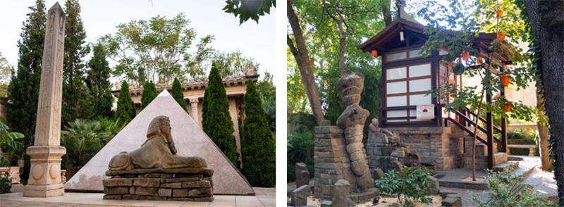 Прогуливаясь по парку, вы попадете во времена Античности, Готики, Средневековья, перенесетесь в Японию, на Кавказ, в Древний Египет