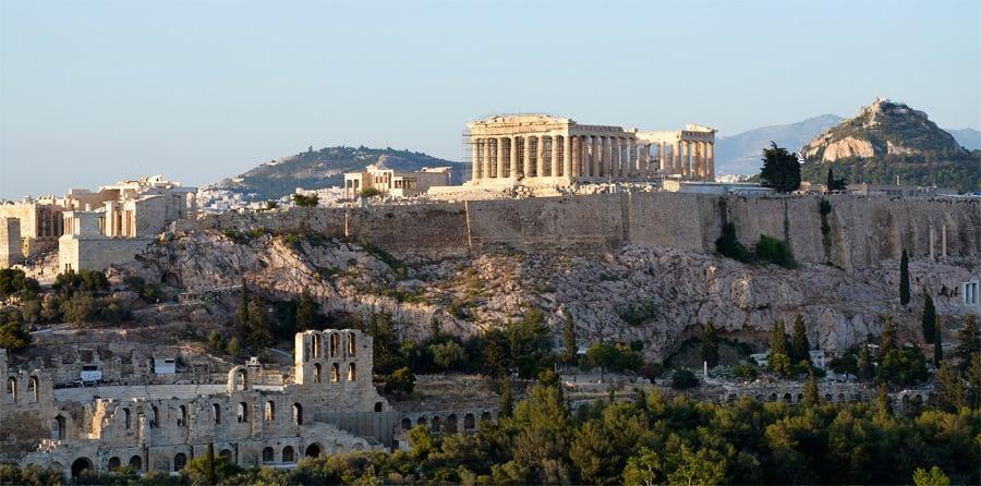 Вид на Акрополь с холма Филопаппа