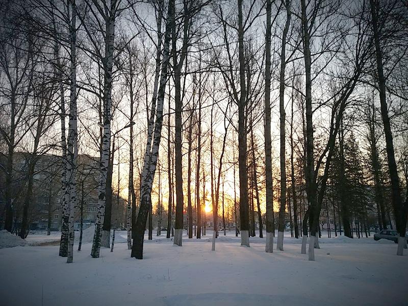 Фото зимнего заката в Ярославле