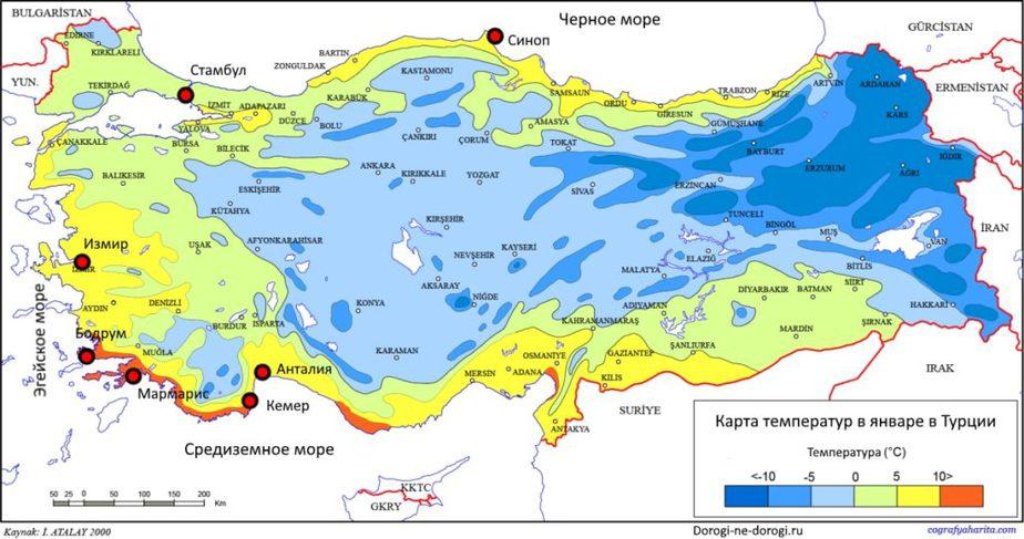 Карта температур в июле в Турции