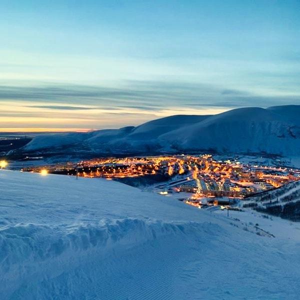 Вид на Кировск со склонов горнолыжного курорта