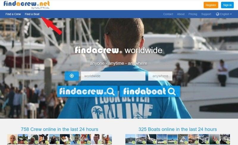 Заходим на сайт findacrew и нажимаем сверху слева пункт Find a Boat.